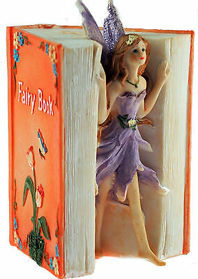 Pretty Lilac Fairy Book Resin Money Box - Girls Bedroom Gift