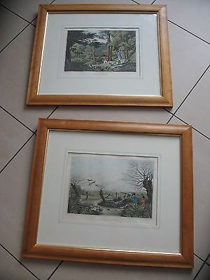 2 framed and mounted antique style prints Pheasant Shooting & Wild Duck Shooting