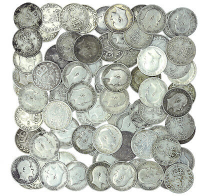 Lot of 80 Edward VII Threepence Pre-1920 .925 Silver 108g