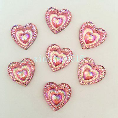 40PCS 16mm AB heart Resin peacock eye Flatback Rhinestone Wedding Buttons/pink
