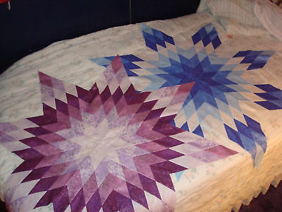 PURPLE & BLUE Pair of Fairy Frost Star Quilt Tops-Machine Pieced and made in USA