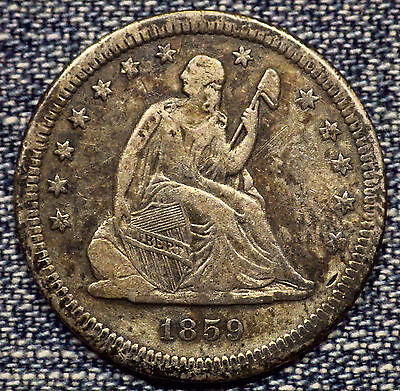 1859-S Seated Liberty Quarter VF+ Coin - Only 80,000 Minted