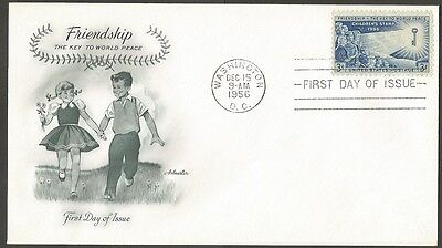 Us Fdc 1956 Friendship-The Key To World Peace 3C Stamp First Day Of Issue Cover