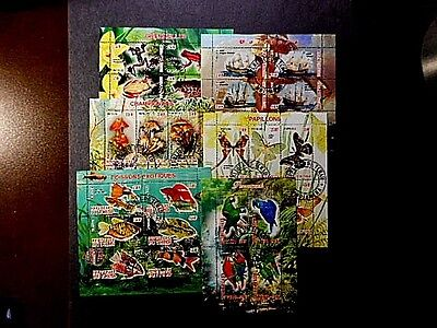 6 Tchad Souvenir Sheets Unused Never Hinged Condition