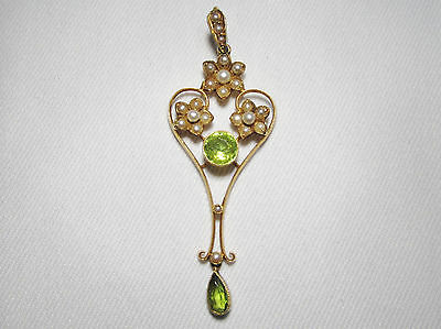 Victorian 15ct Peridot & Seed Pearl Lavalier Necklace Pendant EXCEPTIONAL C353