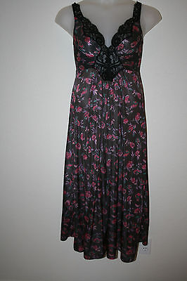 Vintage Olgs Rose Patterned Full Sweep Nightgown Negligee 92270 M Black Lace
