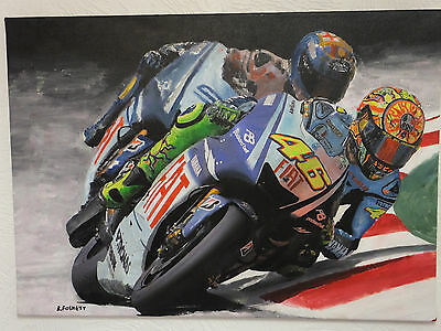 Valentino Rossi  Painting On Canvas Ready To Hang 70 X 50 Cm