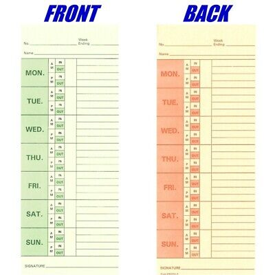 1000 ct., Form 830331-2 Bi-Weekly Time Cards For Right Side Printing Time Clocks