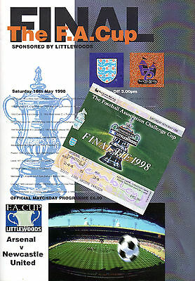 ORIGINAL 1998 FA Cup Final Programme, Ticket & Songsheet - Arsenal vs Newcastle
