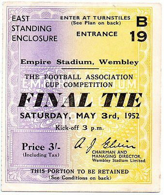 Original 1952 FA Cup Final Ticket, Arsenal vs Newscastle United