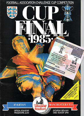 ORIGINAL 1985 FA Cup Final Programme & Ticket - Everton vs Man Utd