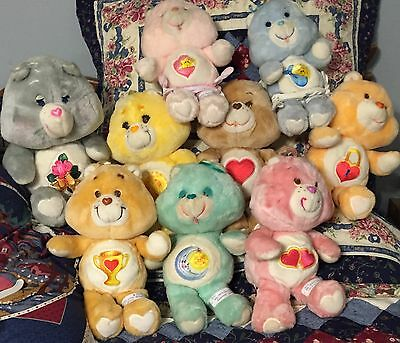 HUGE LOT OF (10) VINTAGE 1983 & 1985 CARE BEARS incl. Talking Secret Bear!