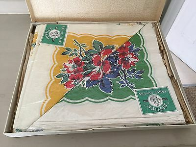 Vintage Set of 2 Justice Green & Yellow Floral Print Cotton Table Cloths In Box