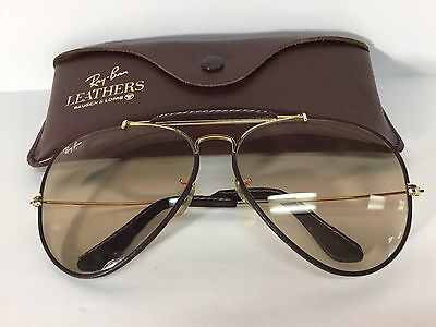 Vintage Ray Ban Bausch & Lomb Leathers Outdoorsman 24k Gold 62mm Changeables