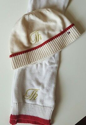 TOMMY HILFIGER cream scarf and beanie hat for toddler - used