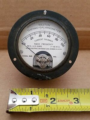 Vintage Weston Thermo-Galvanometer Gauge model 425.  Range 0 - 100 curr. sq.