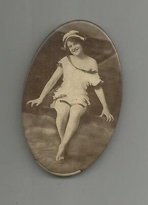 early 1900's pocket mirror real photo of beauty in swimsuit woman celluloid
