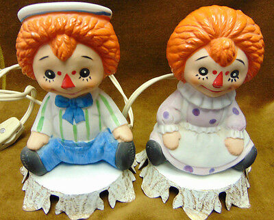 Raggedy Ann  & Andy Aladdin Giftware Lamp or Night Light Pair