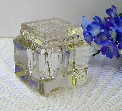 Vintage Antique Collectible Square Crystal Clear Glass Ink Well w Glass Grid Lid