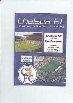Chelsea Home Reserves v Southampton Reserves Football Programme 2001/02