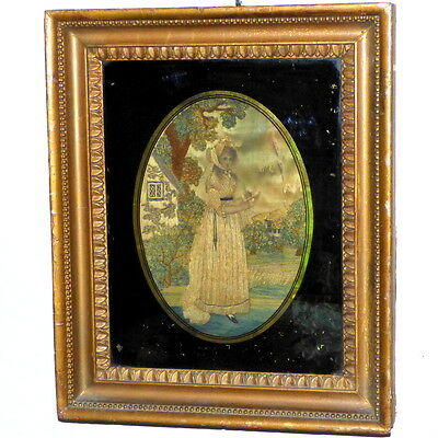 Early 19th Century Romantic Silkwork Picture of a Lady in a Garden