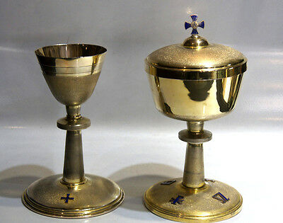 Chalice Goblet Cup Pair Set Two Blue Enamel 800 Silver Italy Stamped