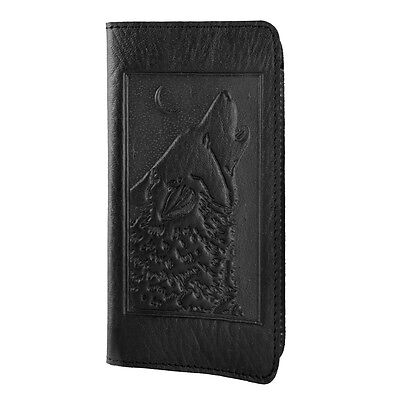 SINGING WOLF Oberon Design Leather CHECKBOOK HOLDER/Cover in Black CKS01
