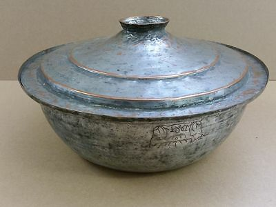 RARE ANTIQUE OTTOMAN-ORIENTAL Hand-forged copper bulky POT DISH PLATE from 1867