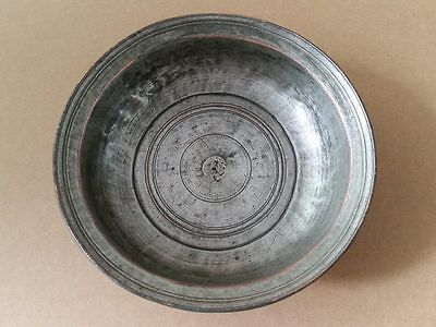 ANTIQUE Armenian - OTTOMAN ERA COPPER BOWL WITH HAND ENGRAVED writting 18-19th C