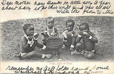 1907 Zulu Children at Dinner South Africa ROBERTS HEIGHTS Used Postcard to UK