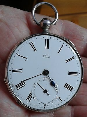 Antique Silver Slimline Pocket Watch Combe Geneve For Repair
