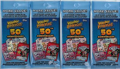 (4) 2017 Topps Wacky Packages 50th Anniversary Sticker Cards Fat Pack LOT