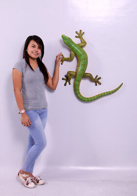 "Gecko Statue - Gecko Sculpture - Large  Gecko Life Size Statue 33"" Wall or Floor"