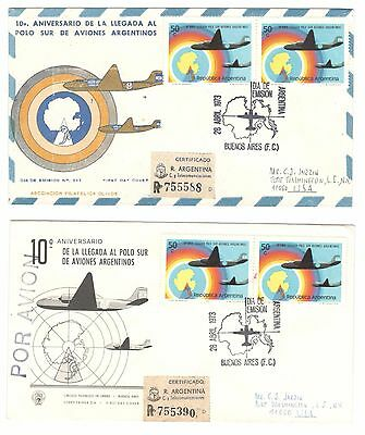 Argentina Covers X 2 Fdc 1973 To Usa Addressed  Registered Argentina Stamps