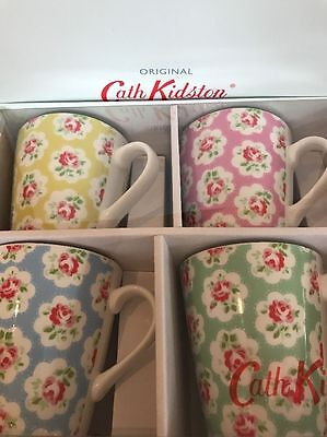 New Cath Kidston Set of 4 Floral Provence Rose Stanley Mugs Cups BNIB