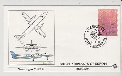 Belguim  - FDC's - Great Airplanes of Europe - Europa 1988  (G63)(X)