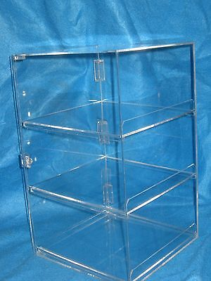 countertop acrylic bakery display case with 3 shelves