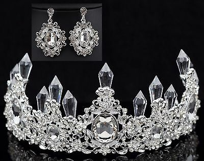 Queen Floral Clear Austrian Rhinestone Crystal Tiara Crown Set Bridal Prom T7