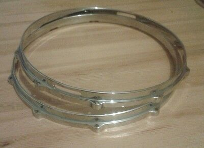 """Diecast snare drum hoops ,14""""x10 hole. Pair : Batter & Snareside complete."""