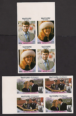 Royal Wedding 1986 Imperf Imperforated Vaitupu Tuvalu blocks MNH
