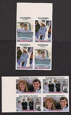 Royal Wedding 1986 Imperf Imperforated Nanumea 65-9 Tuvalu blocks MNH