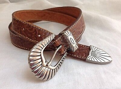 Boys Hand Tooled Brown  Leather Silver Concho Belt Size 20