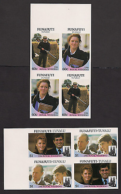 Royal Wedding 1986 Imperf Imperforated Funafuti 57-60 Tuvalu blocks MNH