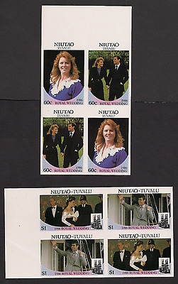 Royal Wedding 1986 Imperf Imperforated Nuitao 49-52Tuvalu blocks MNH