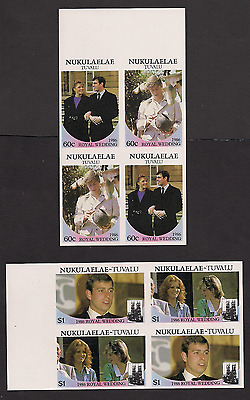 Royal Wedding 1986 Imperf Imperforated Nukulealea 59-62 Tuvalu blocks MNH