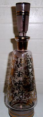 vintage amethyst bohemian glass decanter with ground stopper (very tall at 35cm)
