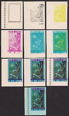 Ecuatorial Guinea MNH 10 progressive proofs Imperf  Picasso painting art