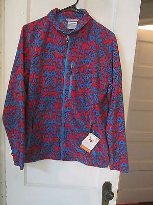 Columbia Red Blue Zip Up Fleece Jacket Men's Size M interchange omni shade