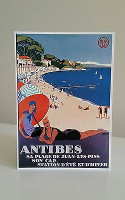 Vintage Style Postcard Antibes Plage South France