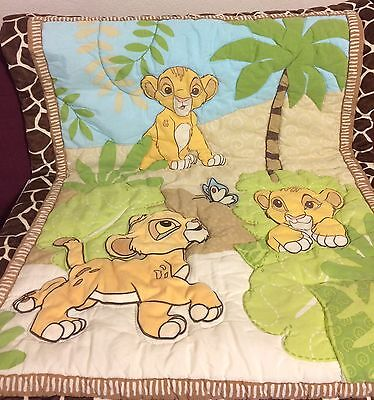 Disney, The Lion King, Baby Simba And Butterfly Jungle Crib Quilt  Or Comforter